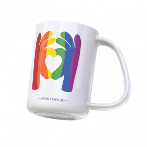 CURVD Pride Mug with rainbow flag printed in 2 shapes of hands forming a heart